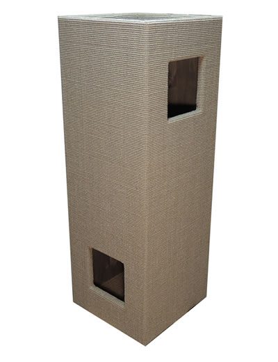 Cat Tree CONVENIENT II, Sisal light-grey, glazed interior - Ansehen im Cat Tree-Online-Shop